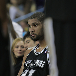 17 December 2008:  San Antonio Spurs forward Tim Duncan (21) sits on the bench during a 90-83 victory by the New Orleans Hornets over the San Antonio Spurs at the New Orleans Arena in New Orleans, LA..