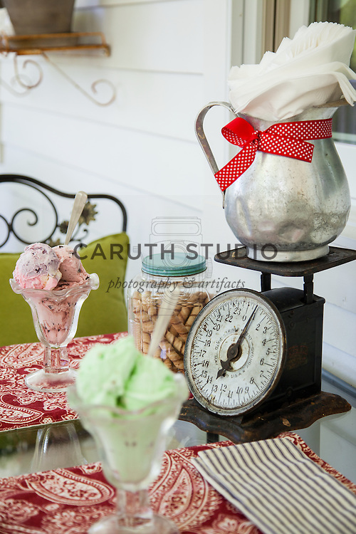 Ice Cream Social: Detail of table on porch