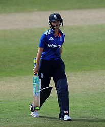 Dejection for England's Charlotte Edwards after being dismissed for 15. - Photo mandatory by-line: Harry Trump/JMP - Mobile: 07966 386802 - 21/07/15 - SPORT - CRICKET - Women's Ashes - Royal London ODI - England Women v Australia Women - The County Ground, Taunton, England.