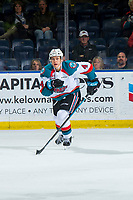 KELOWNA, BC - JANUARY 26:  Devin Steffler #4 of the Kelowna Rockets skates against the Vancouver Giants at Prospera Place on January 26, 2019 in Kelowna, Canada. (Photo by Marissa Baecker/Getty Images)