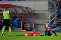 TRNAVA, SLOVAKIA - Thursday, October 10, 2019: Slovakia's Norbert Gyömber reacts as he is shown a second yellow card, then a red, and sent off during the UEFA Euro 2020 Qualifying Group E match between Slovakia and Wales at the Štadión Antona Malatinského. (Pic by David Rawcliffe/Propaganda)
