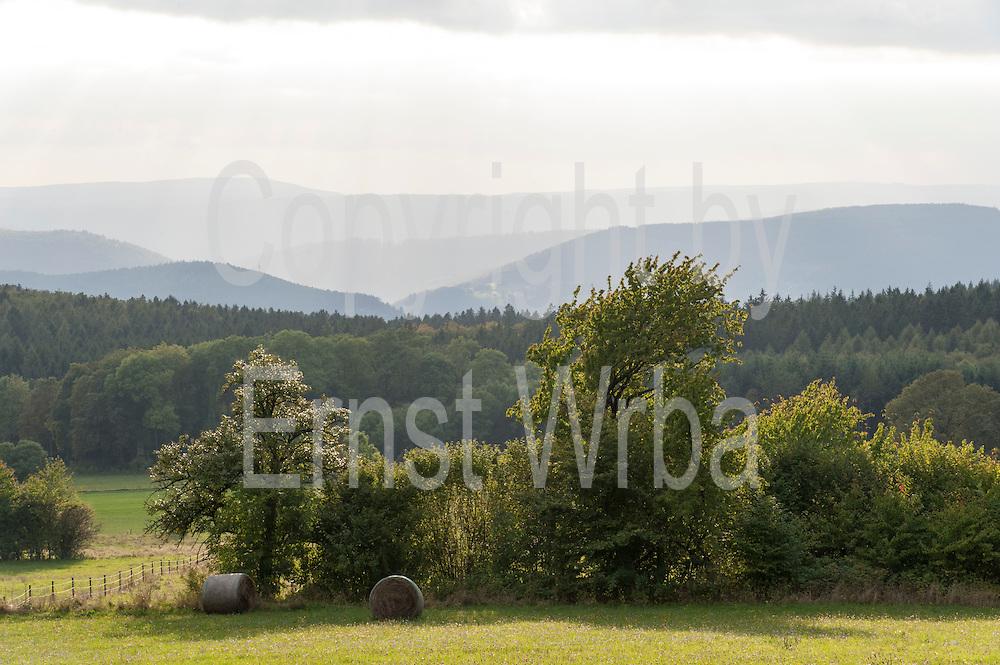 Blick über den Odenwald vom Katzenbuckel Richtung Westen, Walldürn, Odenwald, Naturpark Bergstraße-Odenwald, Baden-Württemberg, Deutschland | view from Katzenbuckel over Odenwald, Odenwald, Baden-Wuerttemberg, Germany