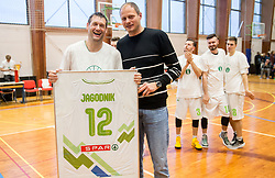 Goran Jagodnik and Raso Nesterovic at Jagodnik's end of a career after basketball match between KD Ilirija and KK Mesarija Prunk Sezana in Last Round of 2. SKL  2016/17, on April 15, 2017 in GIB center, Ljubljana, Slovenia. Photo by Vid Ponikvar / Sportida