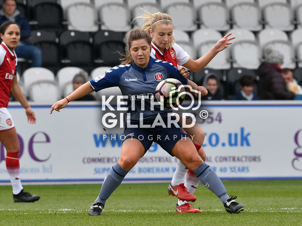 Arsenal Women v Charlton Women, SSE Women's FAC Quarter Final, Borehamwood FC, 25 March  2018. <br /> <br /> <br /> Image by Keith Gillard