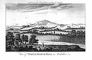 White Horse Hill, Berkshire, England, showing agricultural landscape with ridge-and furrow-ploughing and pre-enclosure landscape. Late 18th century copperplate engraving.