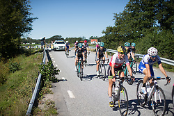 Due to an earlier crash, the race is neutralised until another ambulance could join the race convoy during the 117,5 km third stage of the 2016 Ladies' Tour of Norway women's road cycling race on August 13, 2016 between Svinesund, Sweden and Halden, Norway. (Photo by Balint Hamvas/Velofocus)