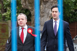 © Licensed to London News Pictures . 14/02/2014 . Manchester , UK . Winning candidate Mike Kane and Labour Party Ed Miliband arrive . The Labour Party hold a victory event to celebrate their win in the Wythenshawe and Sale East by-election at Wythenshawe Sports Club this morning (14th February 2014) . Photo credit : Joel Goodman/LNP