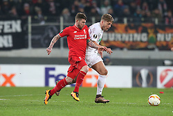 18.02.2016, WWKArena, Augsburg, GER, UEFA EL, FC Augsburg vs FC Liverpool, Sechzehntelfinale, Hinspiel, im Bild Alberto Moreno ( FC Liverpool ) Alexander Esswein ( FC Augsburg ) // during the UEFA Europa League Round of 32, 1st Leg match between FC Augsburg and FC Liverpool at the WWKArena in Augsburg, Germany on 2016/02/18. EXPA Pictures © 2016, PhotoCredit: EXPA/ Eibner-Pressefoto/ Langer<br /> <br /> *****ATTENTION - OUT of GER*****