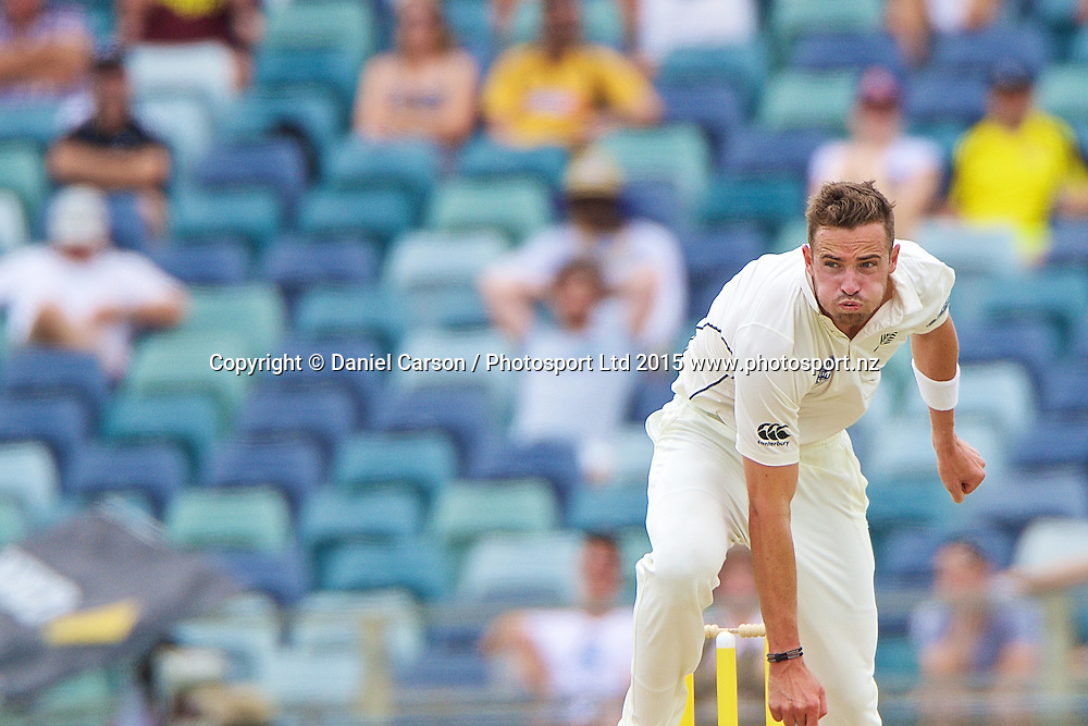 Tim Southee of the New Zealand Black Caps bowls during Day 5 on the 17th of November 2015. The New Zealand Black Caps tour of Australia, 2nd test at the WACA ground in Perth, 13 - 17th of November 2015.   Photo: Daniel Carson / www.photosport.nz