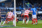 Goal - Matt Clarke (5) of Portsmouth scores a goal to make the score 1-1 during the EFL Sky Bet League 1 match between Portsmouth and Doncaster Rovers at Fratton Park, Portsmouth, England on 3 February 2018. Picture by Graham Hunt.
