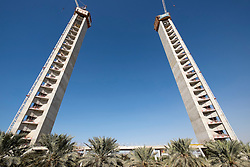 Construction of the Dubai Frame, a new landmark tourist attraction with observation platform in Zabeel Park Dubai United Arab Emirates