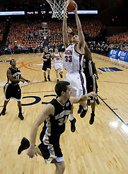 Virginia's Jason Cain (33) goes up for a slam against Wake Forest.  The Virginia Cavaliers defeated the Wake Forest Demon Decons 88-76 at the John Paul Jones Arena in Charlottesville, VA on January 21, 2007.