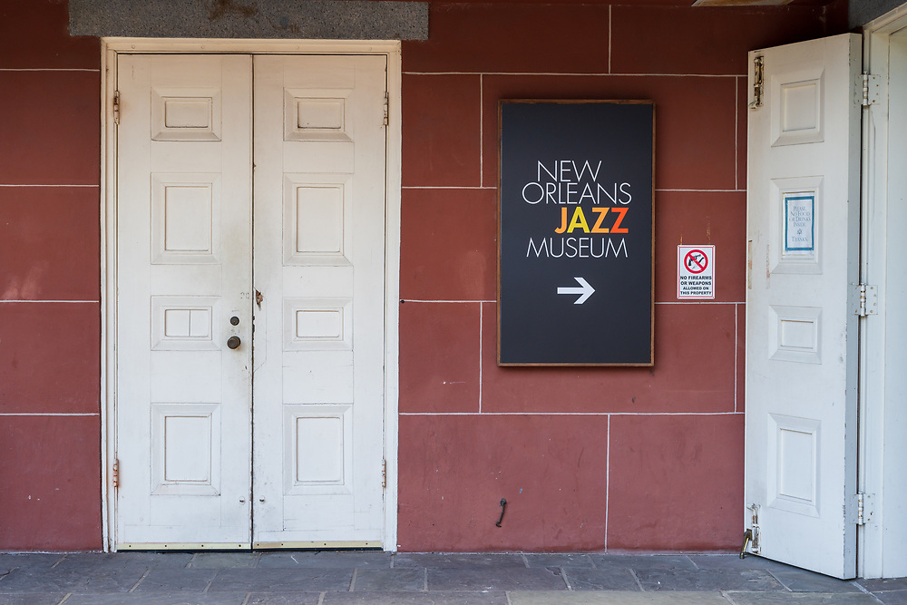 New Orleans, LA, USA -- May 23, 2019.  Photo of an entrance to the New Orleans Jazz Museum in the French Quarter.