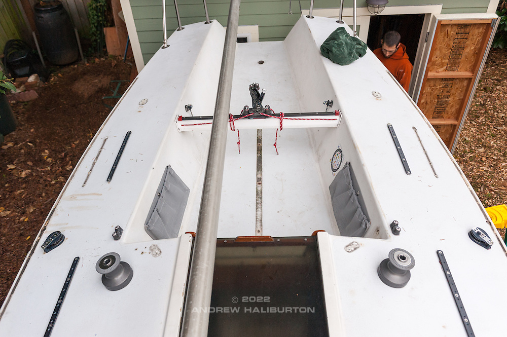 """Deck layout modifications Moore24 #47 """"Moorality"""" Portland Oregon. 12 Novemebr 2016."""