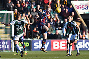 Callum Guy (18) of Bradford City is challenged by David Fox (24) of Plymouth Argyle during the EFL Sky Bet League 1 match between Plymouth Argyle and Bradford City at Home Park, Plymouth, England on 24 February 2018. Picture by Graham Hunt.