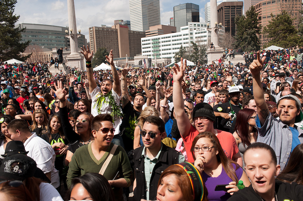 The crowd at the 4/20 rally event in Denver.