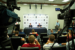 CHARLOTTE, USA - Friday, August 1, 2014: Liverpool's Joe Allen and manager Brendan Rodgers during a press conference at the Bank of America Stadium on day twelve of the club's USA Tour. (Pic by David Rawcliffe/Propaganda)