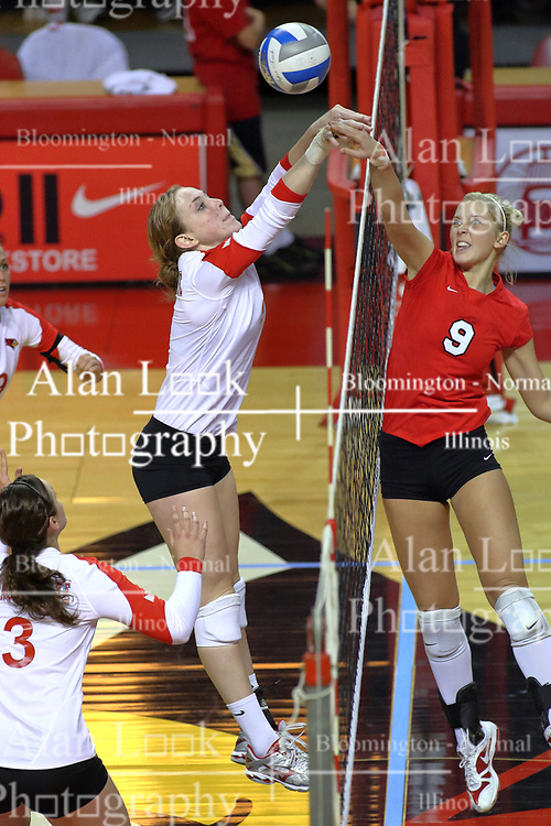 09 October 2009: Skylar Lesan wins a net battle with Katie Culbertson. The Redbirds of Illinois State defeated the Braves of Bradley in 3 sets during play in the Redbird Classic on Doug Collins Court inside Redbird Arena in Normal Illinois