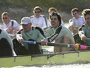 Photo. © Peter Spurrier/Intersport Images.13/03/2004  - Rowing -Cambridge Blue Boat v Leander.Cambridge [near] and Leander,with a lead, move into the Hammersmith Bend and the rougher water..LtoR  Cambridge President Wayne Pommen and Steffen Buschbacher.[Mandatory Credit Peter Spurrier/ Intersport Images] Varsity: Boat Race [Mandatory Credit: Peter Spurrier/Intersport Images]