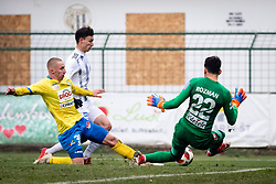 Image shows Rok Sirk of NŠ Mura and Zan Zaletel and Matjaz Rozman of NK Celje during football match between NŠ Mura and NK Celje in 18th Round of Prva liga Telekom Slovenije 2018/19, on December 2, 2018 in Fazanerija, Murska Sobota, Slovenia. Photo by Blaž Weindorfer / Sportida
