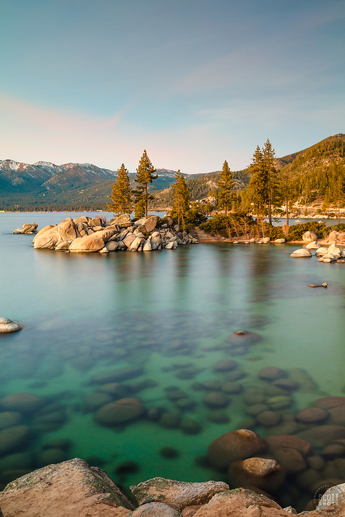 """Sand Harbor Sunset 4"" - Photograph of Sand Harbor, Lake Tahoe taken just after sunset. A long exposure allowed for more light to be seen than the naked eye could see."