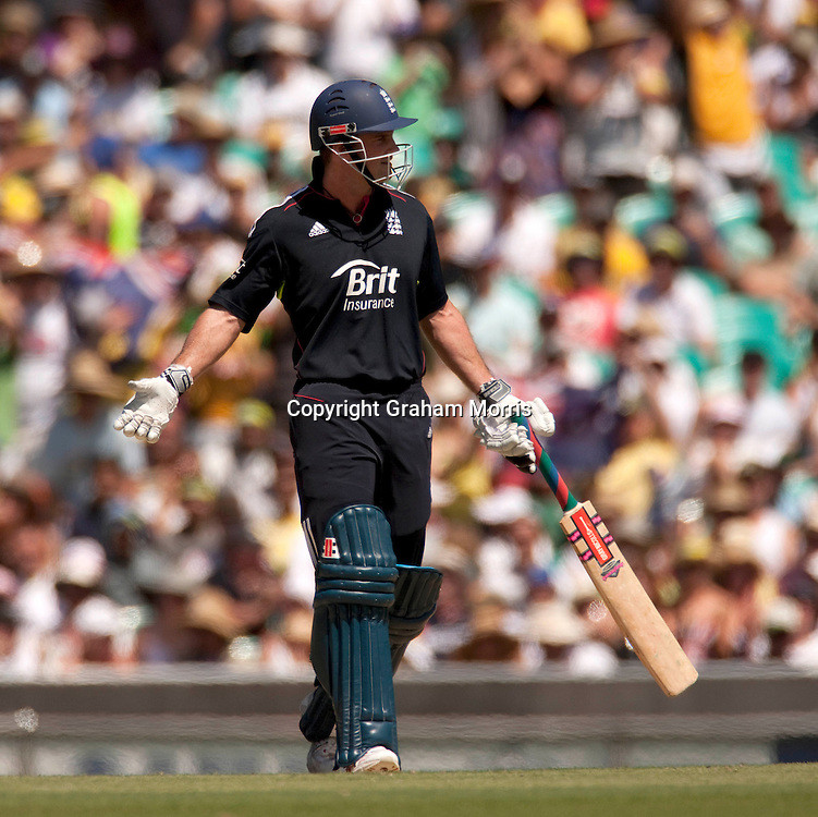 Captain Andrew Strauss wonders what is going on after being run out (by Jonathan Trott) during the third one day international between Australia and England at the SCG in Sydney, Australia. Photo: Graham Morris (Tel: +44(0)20 8969 4192 Email: sales@cricketpix.com) 23/01/11