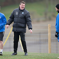 St Johnstone Training....14.03.14<br /> Tommy Wright having a laugh in training this morning with Chris Kane and Lee Croft ahead of tomorrow's game against Ross County.<br /> Picture by Graeme Hart.<br /> Copyright Perthshire Picture Agency<br /> Tel: 01738 623350  Mobile: 07990 594431