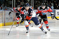 KELOWNA, CANADA, OCTOBER 29: Josh Caron #24 of the Kamloops Blazers skates on the ice as the Kamloops Blazers visit the Kelowna Rockets  on October 29, 2011 at Prospera Place in Kelowna, British Columbia, Canada (Photo by Marissa Baecker/Shoot the Breeze) *** Local Caption *** Josh Caron;
