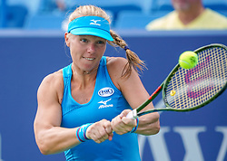 August 18, 2018 - Cincinnati, OH, U.S. - CINCINNATI, OH - AUGUST 18: Kiki Bertens (NED) hits a two-handed backhand shot during the semi-final match at the Western & Southern Open at the Lindner Family Tennis Center in Mason, Ohio on August 18, 2018. (Photo by Adam Lacy/Icon Sportswire) (Credit Image: © Adam Lacy/Icon SMI via ZUMA Press)