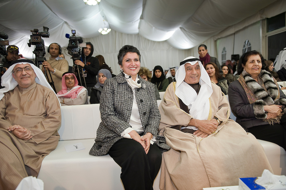 Safa Al-Hashem, a candidate in Kuwait's Feb. 2 2012 parliamentary elections, smiles as she is being introduced at the opening of her inaugural election HQ rally in Adailiah in Kuwait on 15 Jan. 2012. Al-Hashem is one of 24 women running in the race in which a total of 340 candidates are vying for the 50 parliamentary seats.