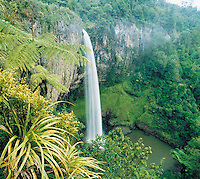 Waterfall in rainforest elevated view
