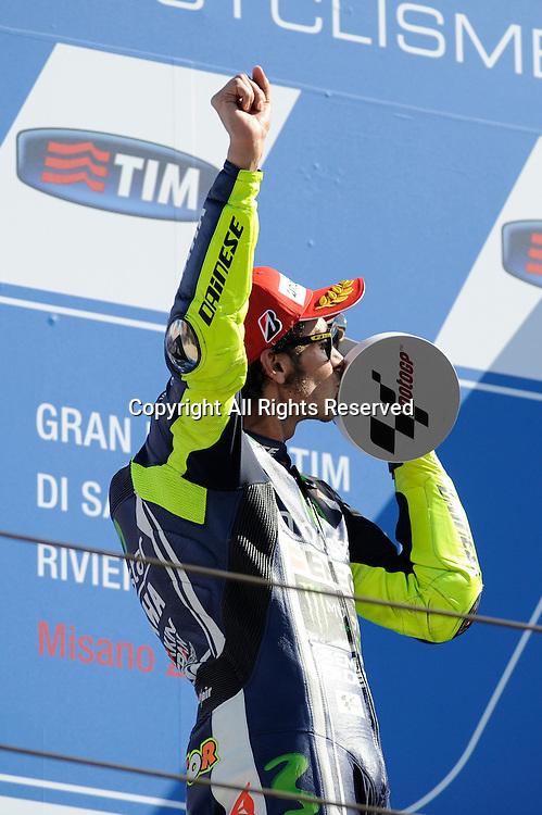 14.09.2014.  Misano, San Marino. MotoGP. San Marino Grand Prix. Valentino Rossi celebrate his victory on podium