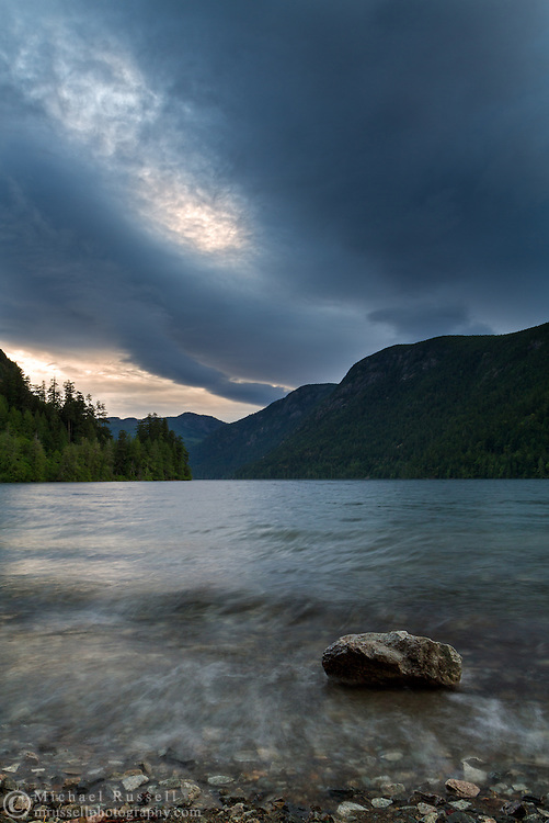 A storm rolls in over Cameron Lake near Port Alberni, British Columbia, Canada