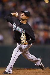 July 26, 2010; San Francisco, CA, USA; Florida Marlins relief pitcher Leo Nunez (46) pitches against the San Francisco Giants during the ninth inning at AT&T Park.  Florida defeated San Francisco 4-3.