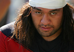 Toulon's Fotunuupule Auelua has his head bandaged after suffering a head injury  during the French Top 14 Rugby Match, Montauban vs Toulon on Sunday to cap a memorable week for the south-western club at the Sapiac stadium in Montauban, France on September 6, 2009