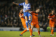 Brighton striker, Bobby Zamora (25) goes close during the Sky Bet Championship match between Brighton and Hove Albion and Ipswich Town at the American Express Community Stadium, Brighton and Hove, England on 29 December 2015.