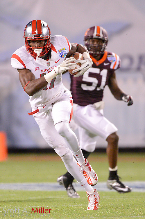Rutgers Scarlet Knights wide receiver Brandon Coleman (17) runs upfield during the Russell Athletic Bowl against the Virginia Tech Hokies on Dec 28, 2012 in Orlando, Florida. ...©2012 Scott A. Miller..