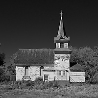 Old church in rural landscape in Cavalier County USA