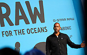 Tyson Toussant speaks during the press conference to announce Pharrell Wiliams' collaboration with Bionic Yarn and G-Star Raw at the Museum of Natural History in New York City, New York on February 08, 2014.