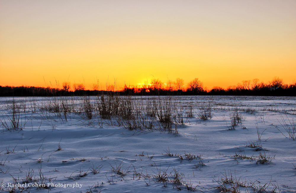 &quot;Fire on Ice&quot;<br /> <br /> The beautiful orange and yellow hues from the setting sun, bring fire to the snow and ice in this lovely winter sunset!!<br /> <br /> Sunset Images by Rachel Cohen