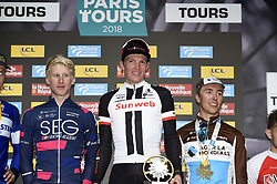 October 7, 2018 - Tours, France - Tours, France - October 7 : Marten KOOISTRA NED of SEG Racing Academy, NDERSEN Soren Kragh of Team Sunweb, COSNEFROY Benoit of AG2R La Mondiale during the 112th edition of the Paris - Tours Elite cycling race with start in Chartres and finish in Tours on October 7, 2018 in Tours, France, 07/10/2018 (Credit Image: © Panoramic via ZUMA Press)