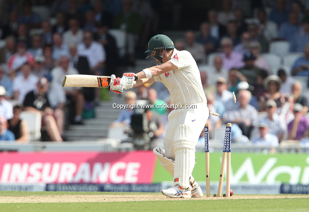 Steve Smith of Australia plays on and is bowled out by Steven Finn of England. England v Australia, 5th and final Ashes Test, Day 2, Oval, London. 21/08/2015 © Matthew Impey/www.cricketpix.com