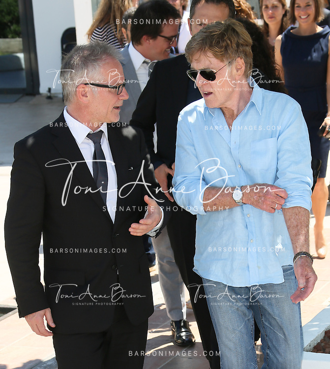 CANNES, FRANCE - MAY 22:  Thierry Fremaux and  Robert Redford befored the photocall for 'All Is Lost' during The 66th Annual Cannes Film Festival at the Palais des Festivals on May 22, 2013 in Cannes, France.  (Photo by Tony Barson/FilmMagic)