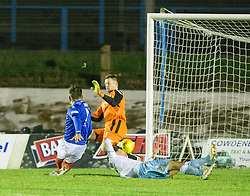 Cowdenbeath's Kris Renton scoring their third goal. Cowdenbeath 3 v 4 Forfar Athletic, Scottish Football League Division Two game played 17/12/2016 at Central Park.