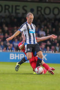 Dave Winfield tackles Siem De Jong during the Pre-Season Friendly match between York City and Newcastle United at Bootham Crescent, York, England on 29 July 2015. Photo by Simon Davies.