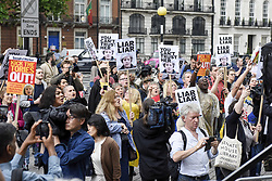 June 2, 2017 - London, UK - London, UK. Demonstrators gather outside the BBC headquarters in protest against the Corporation for not playing the song ''Liar Liar'' by Captain Ska on BBC Radio 1.  Organised by The People's Alliance, people carried signs bearing an image of Prime Minister Theresa May with the words ''Liar Liar'' and ''You Can't Trust Her'' on each side. (Credit Image: © Stephen Chung/London News Pictures via ZUMA Wire)