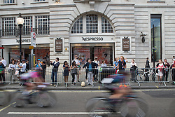 Hannah Barnes (GBR) of CANYON//SRAM Racing whizzes past the elegant shops of Regent Street during Stage 5 of the OVO Energy Women's Tour - a 62 km road race, starting and finishing in London on June 11, 2017, in London, United Kingdom. (Photo by Balint Hamvas/Velofocus.com)