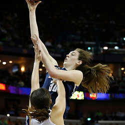 April 7, 2013; New Orleans, LA, USA; Connecticut Huskies forward Breanna Stewart (top) shoots against Notre Dame Fighting Irish forward Natalie Achonwa (11) during the second half in the semifinals during the 2013 NCAA womens Final Four at the New Orleans Arena. Mandatory Credit: Derick E. Hingle-USA TODAY Sports