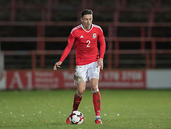 WREXHAM, WALES - Thursday, November 10, 2016: Wales' Cameron Coxe in action against Greece during the UEFA European Under-19 Championship Qualifying Round Group 6 match at the Racecourse Ground. (Pic by Gavin Trafford/Propaganda)
