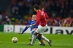 MOSCOW, RUSSIA - Wednesday, May 21, 2008: Manchester United's Cristiano Ronaldo and Chelsea's Ricardo Carvalho during the UEFA Champions League Final against Chelsea at the Luzhniki Stadium. (Photo by David Rawcliffe/Propaganda)